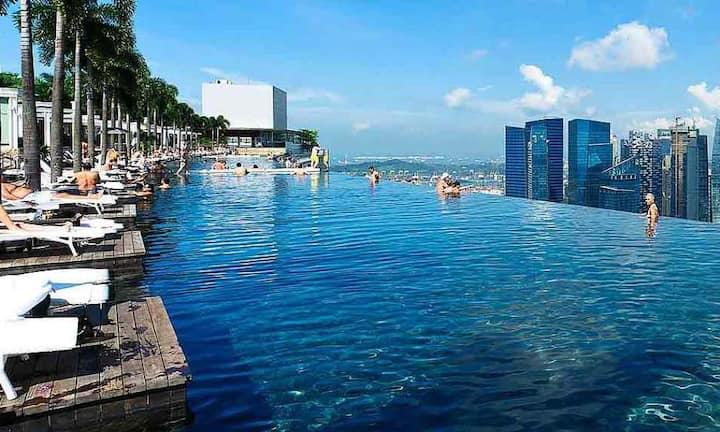 Marina Bay Sand Hotel and infinity pool 金沙酒店特价房间