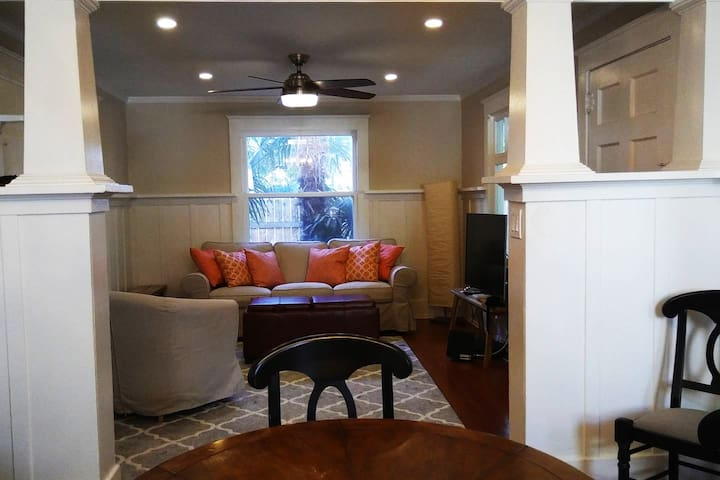 View of the living room from the dining room