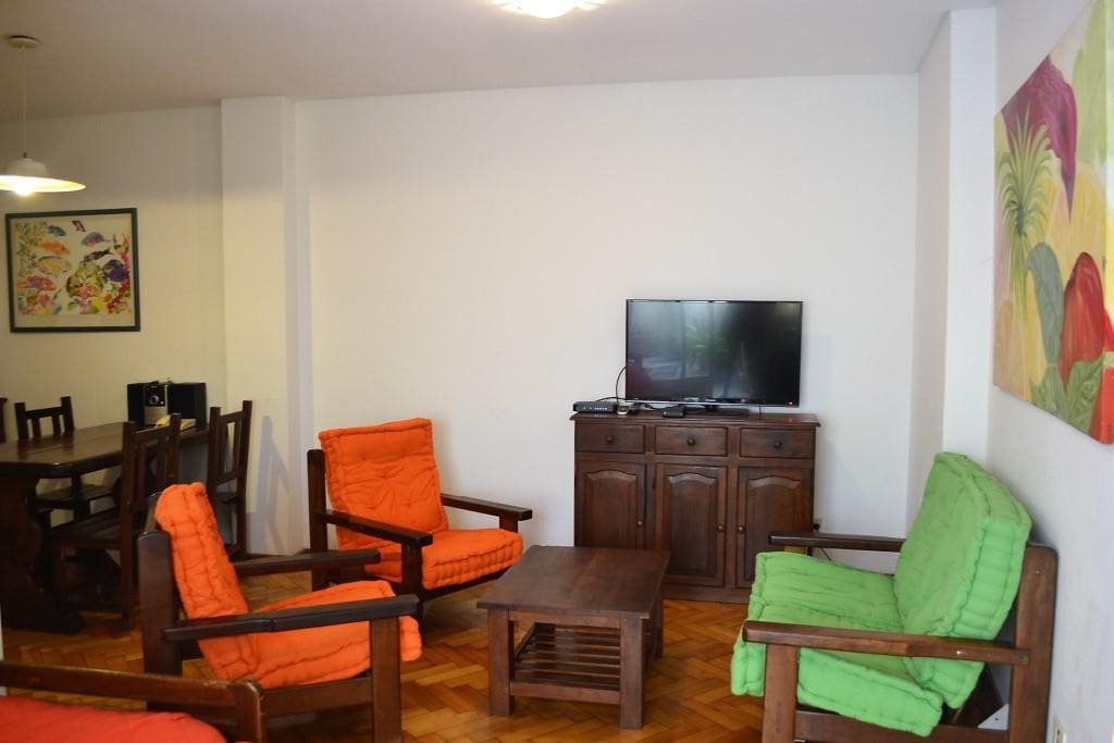 Living room with LCD TV with cable
