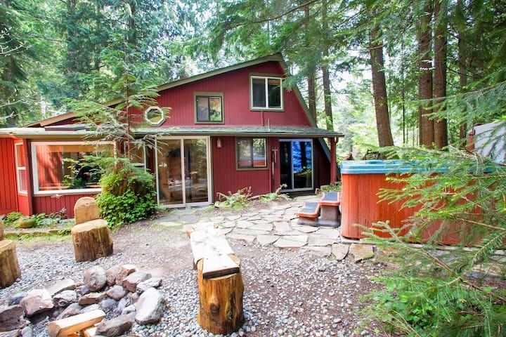 Dog friendly cabin w/hot tub near Mt Rainier