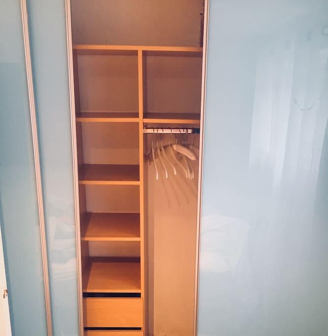 Bedroom: Lots of storage (built-in wardrobe)