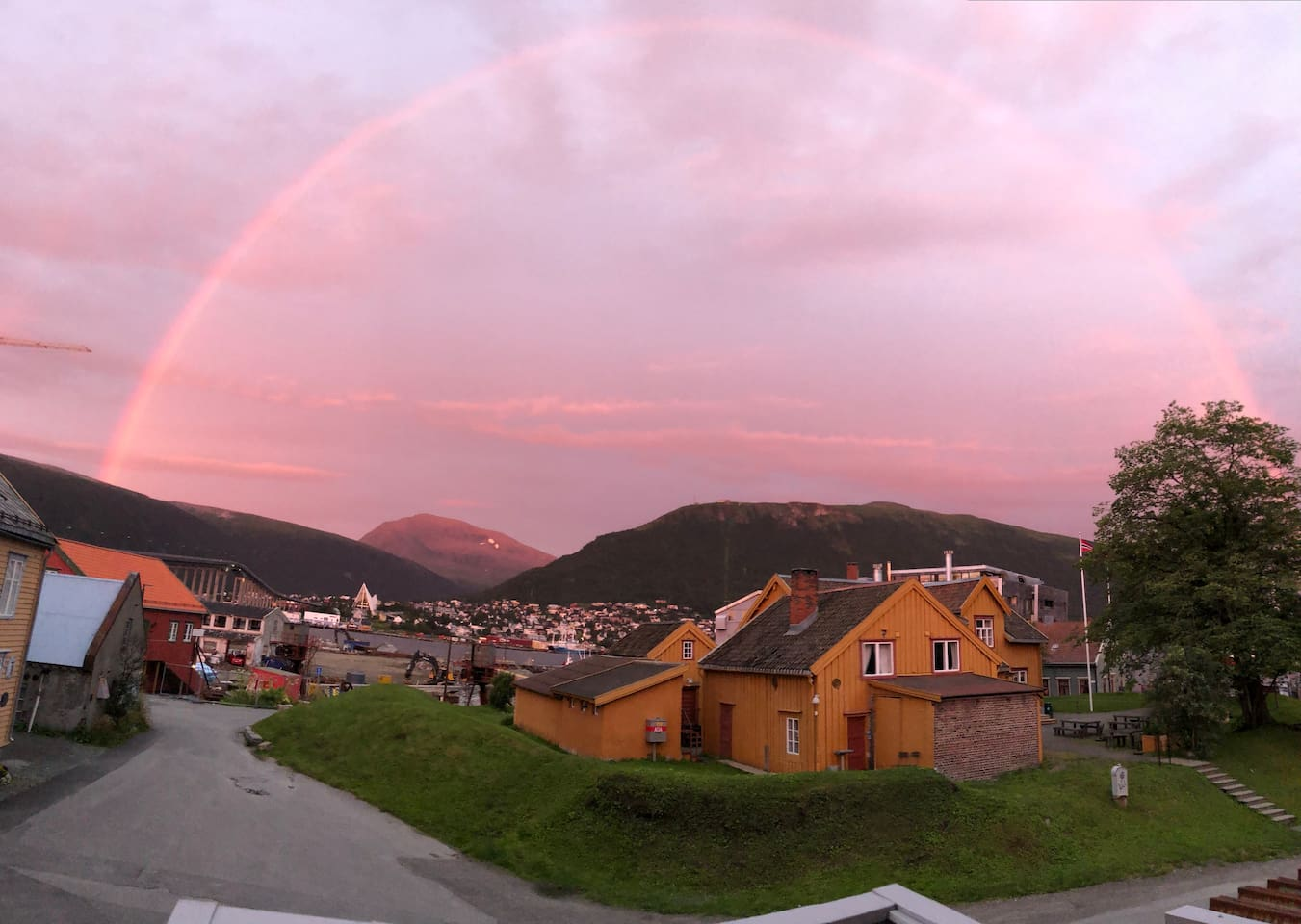 Pink sky+ rainbow . Catched from my window 18.08.2018 h22:35