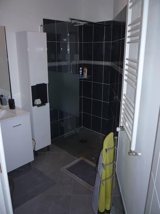 Salle de bain avec douche à l'italienne.