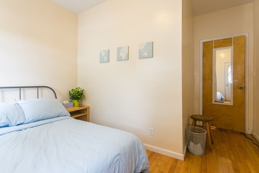 The room - includes double bed, a/c, clothing rack, night stand, and exclusive access to back yard