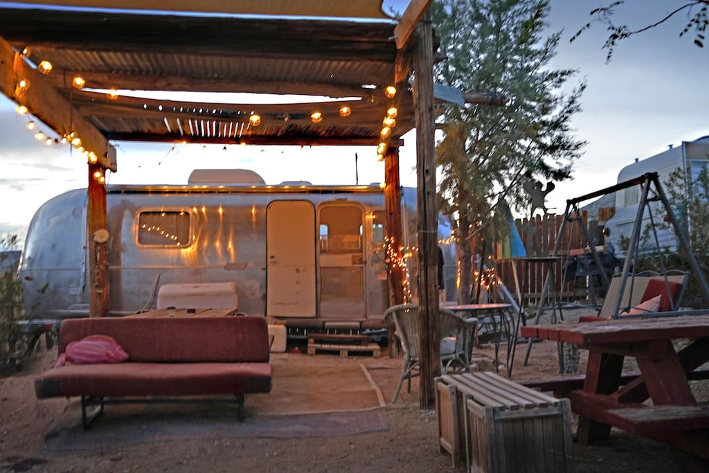 Airstream at dusk - great sunsets await.