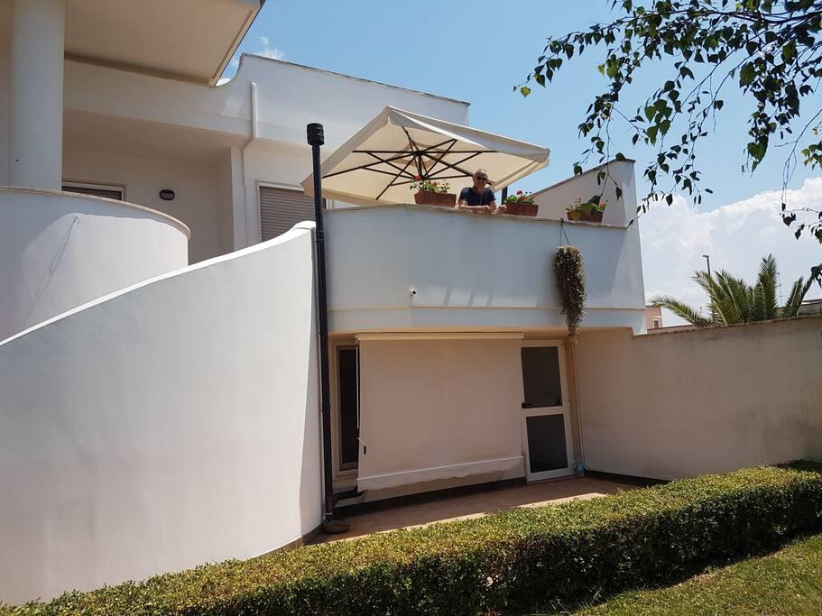 vista del giardino e della veranda privata