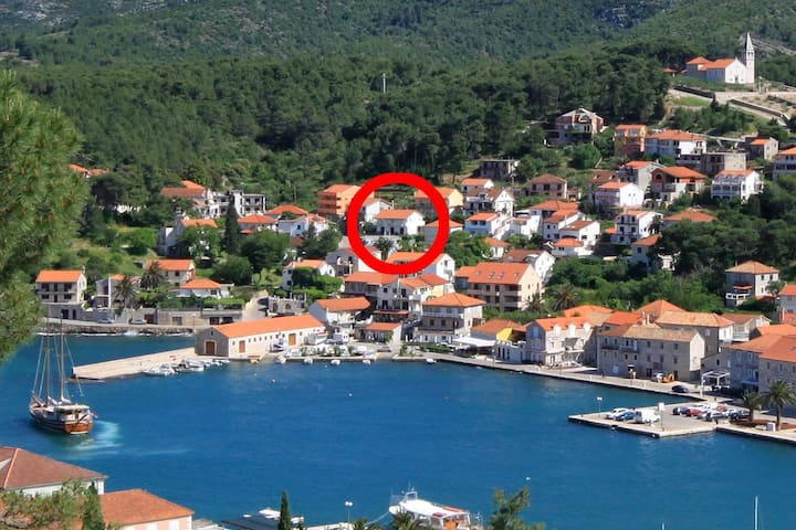 One bedroom apartment with balcony and sea view Jelsa, Hvar (A-196-e)