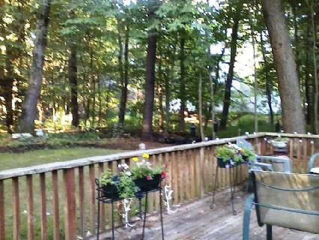 Private back yard with spacious deck.