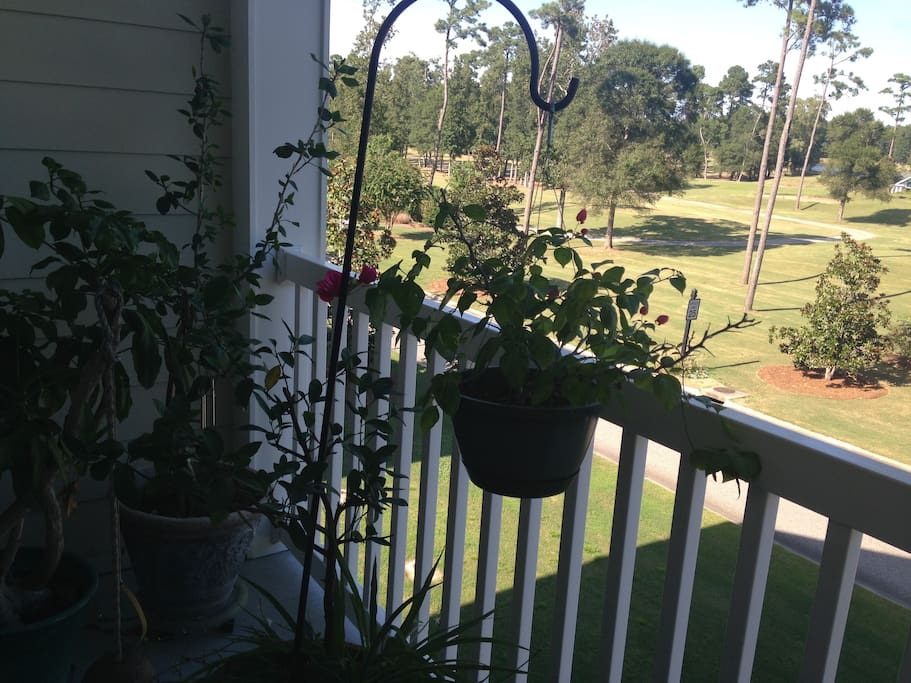 Balcony garden with view of golf course