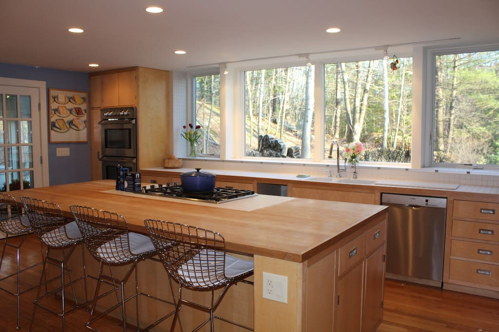 Chef's kitchen with gas range, double oven, dishwasher, microwave, nespresso machine, toaster, and a huge butcher block island.  Great windows, views, light.