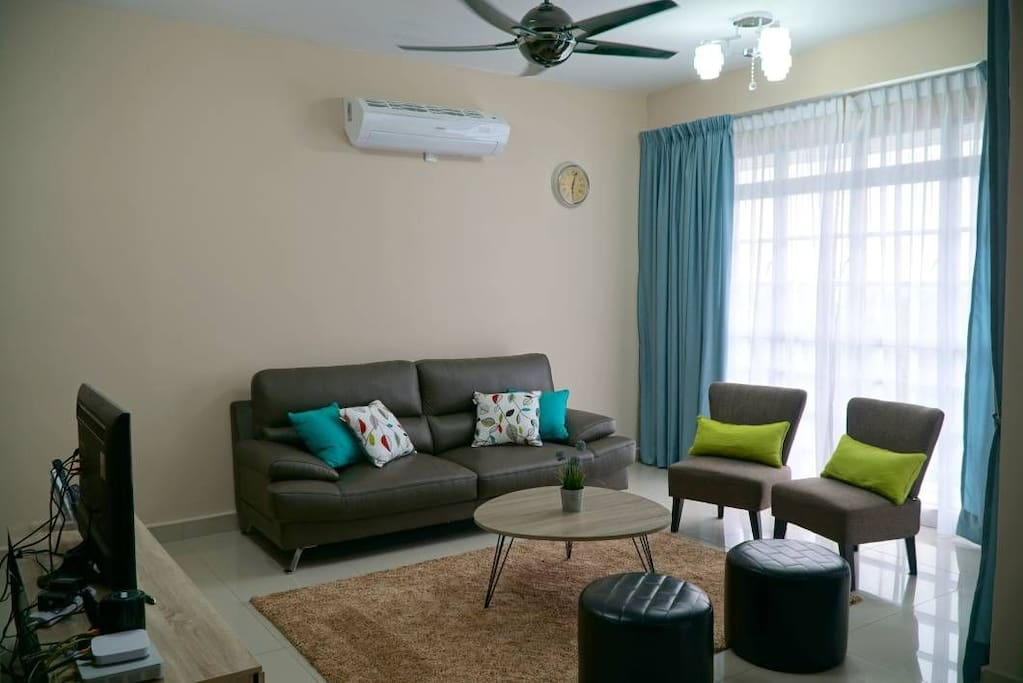 Living room with air conditioning unit