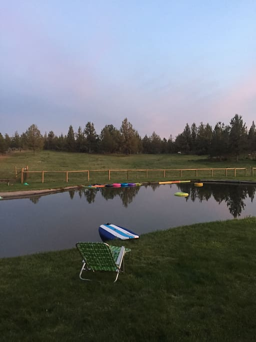 Beautiful and Huge Swimming/ Irrigation Pond overlooking one of the horse pastures!