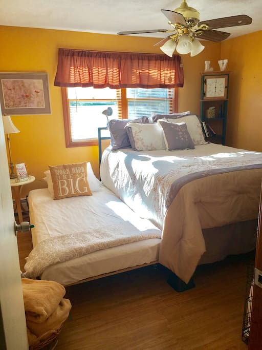 Here is the room with the trundle fully extended. With this option the room can sleep 3 people.