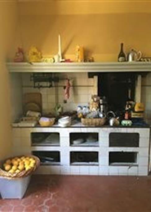 kitchen preserved in original style