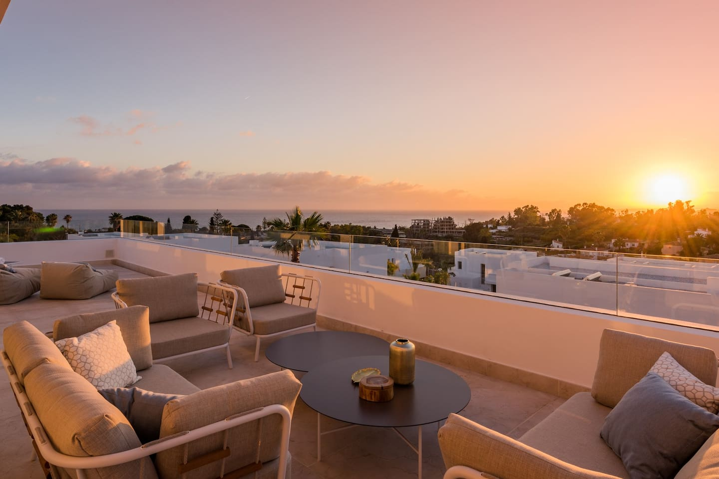 First floor terrace at sunset