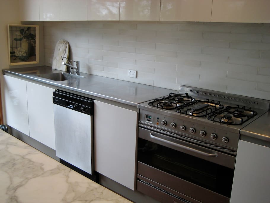 Kitchen with Miele dishwasher and Ilve gas stove and oven.