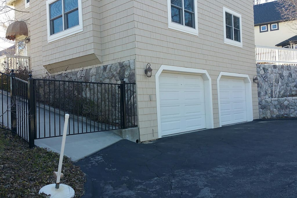 Guest parking - level entry to your own private driveway for guests only.   Entrance to guest house is through the gate and up the stairs on right.