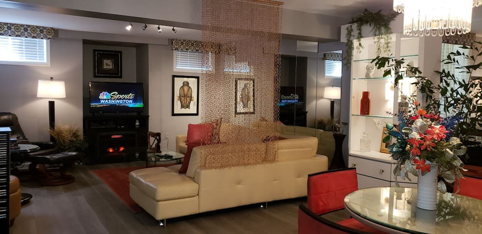 Cozy living room with electric fireplace and FIOS TV