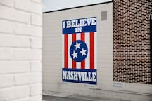 "10 minutes from the famous ""I Believe in Nashville"" mural in 12 South!"