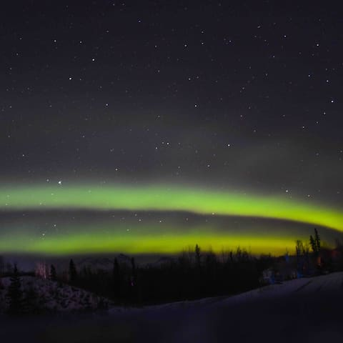 Northern Lights viewed from driveway, Feb 28, 2019