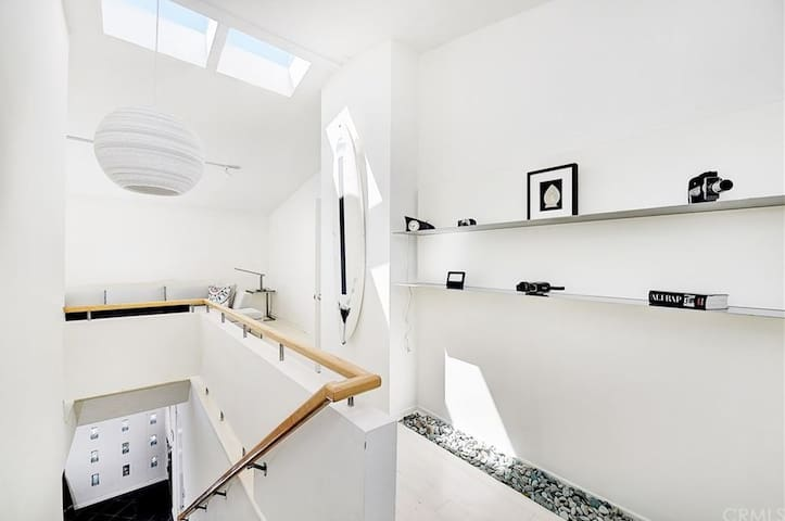 Skylights fill the living space with soft light