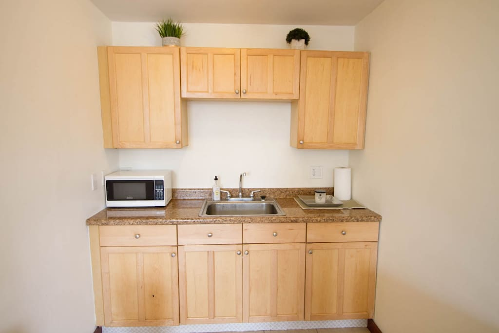 Kitchenette with microwave and sink
