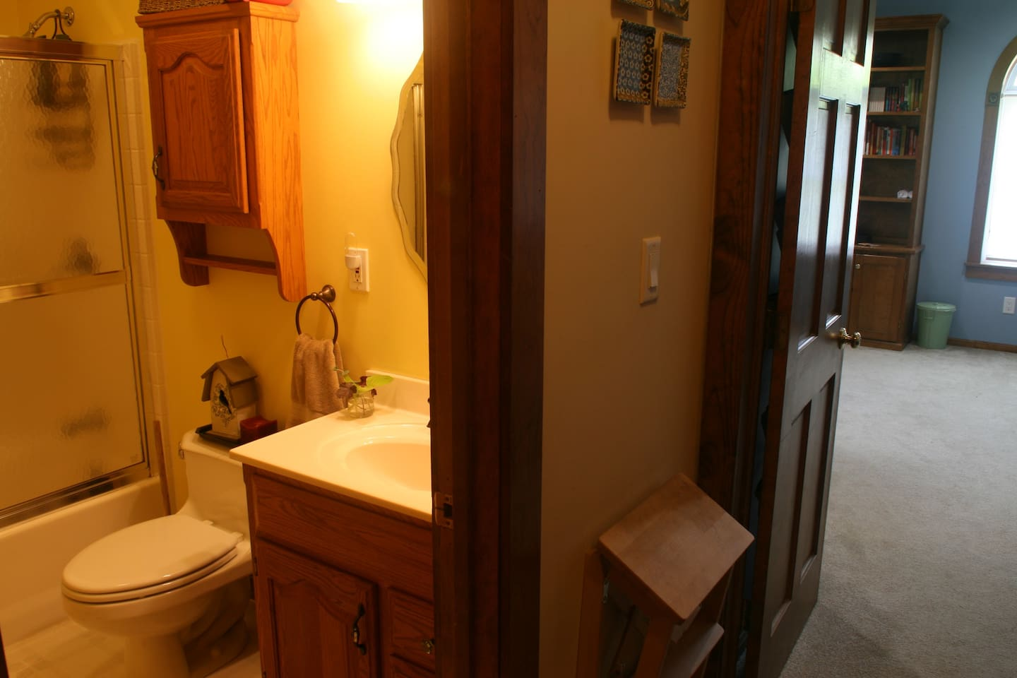 Your private bathroom is right around the corner from your spacious bedroom.
