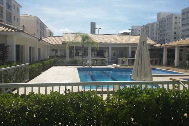 Beach 2km. Two bed ground floor flat with pool