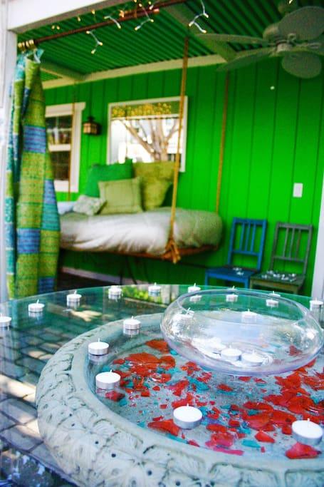 Hanging Bamboo Bed on the Veranda