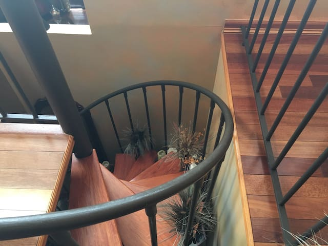 Spiral staircase which leads up to your Loft area