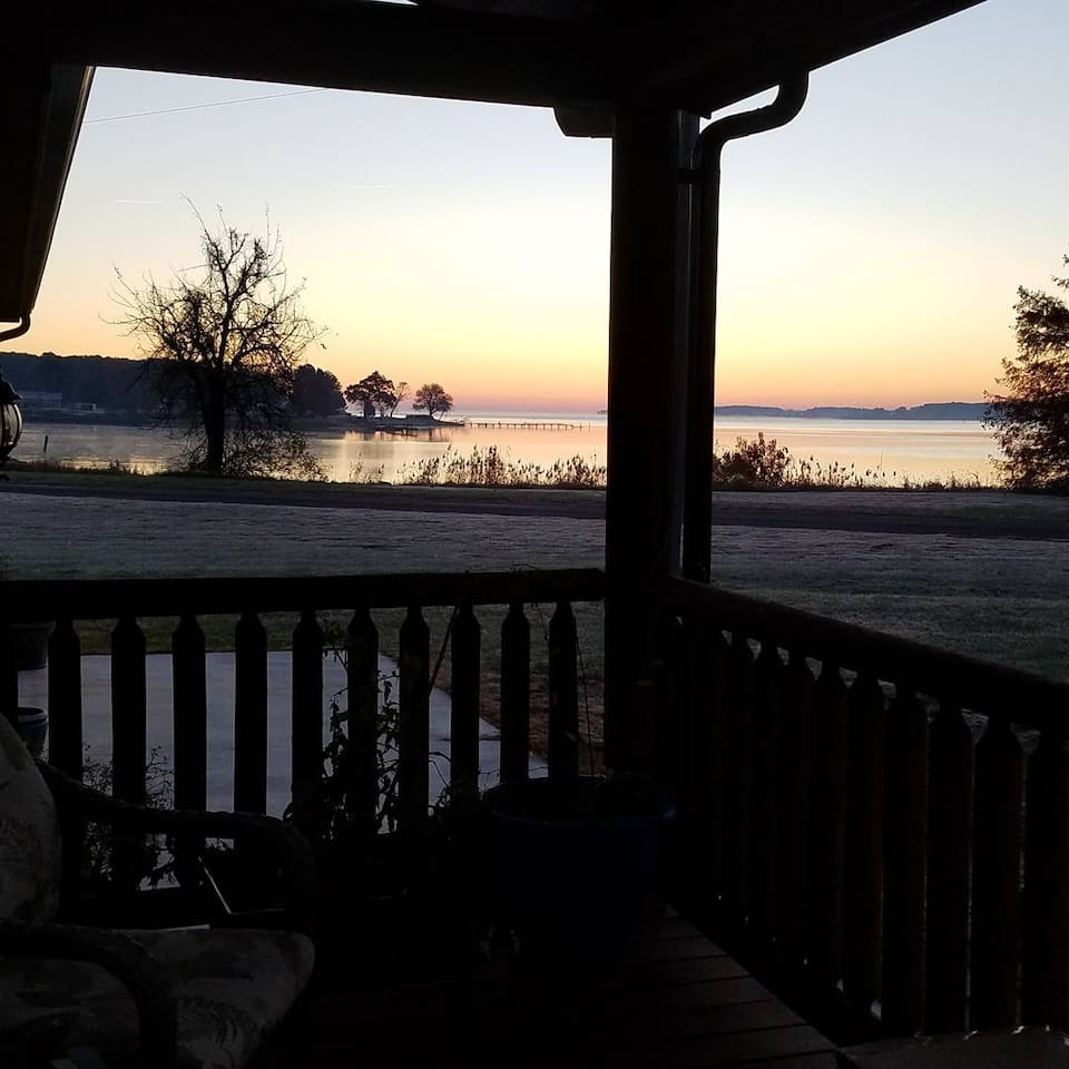 Coffee on the front porch watching the sunrise!