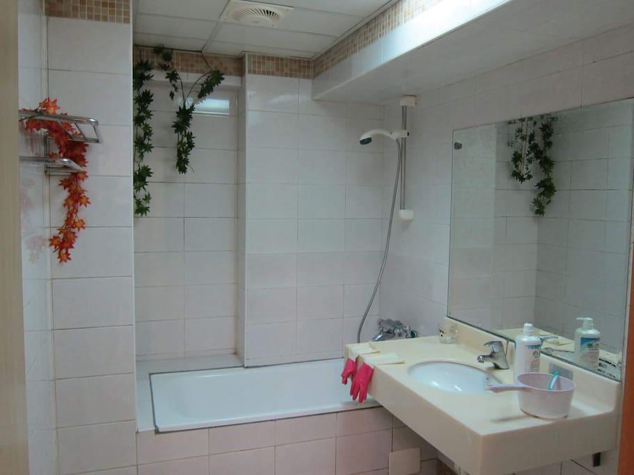 提供沐浴乳、洗髮精、潤髮乳、洗面乳,另有提供吹風機