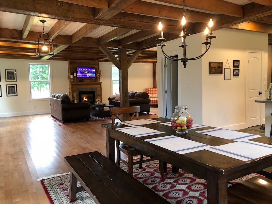 Modern open plan with original beams