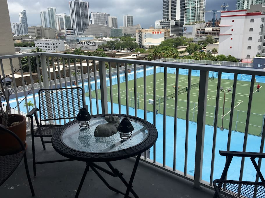 Balcony downtown view  & tennis court