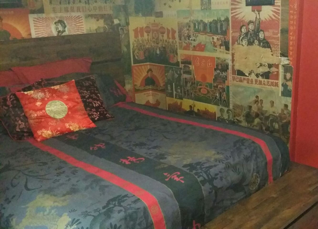 Large comfortable bed.. tv  ..funky decor