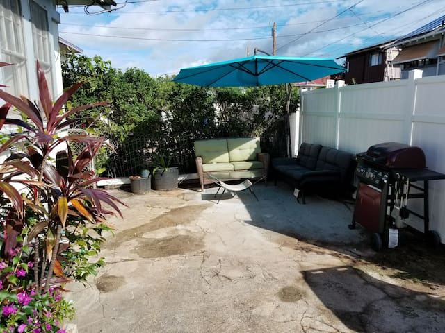 front yard bbq / cruise area shared