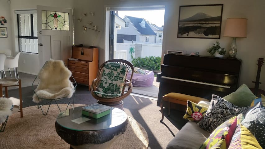 light airy living opens to deck