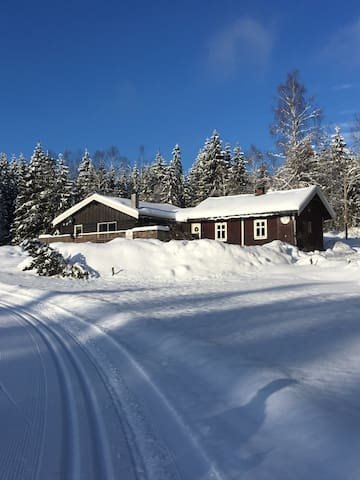 Right by hiking areas, ski slopes in Østmarka.