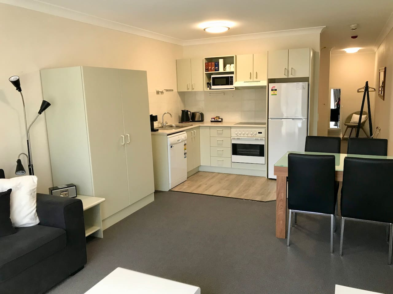 Open plan lounge/dining/fully equipped kitchen. Pull out sofa bed can be set up to sleep two people (by request)