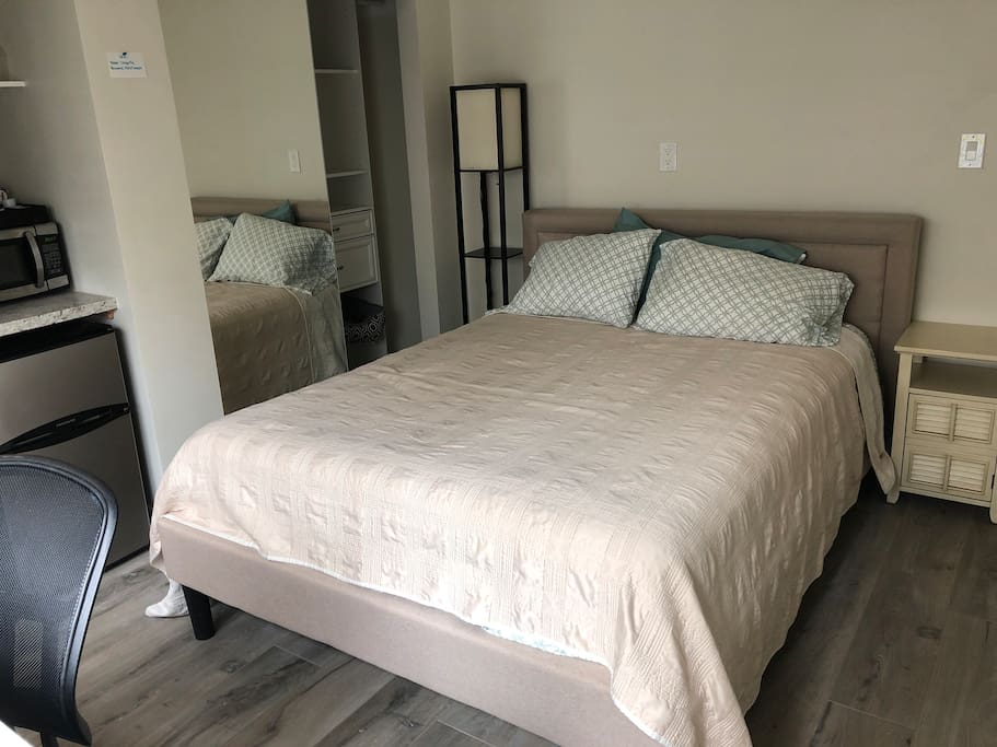 Master suite with a queen sized bed, TV, mini fridge, microwave, desk, closet with storage