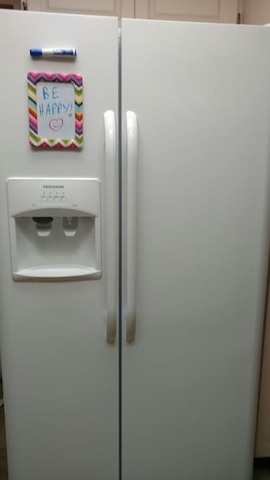 You can keep things in the refrigerator. The door supplies filtered cold water, cubed ice, and crushed ice. There is also room temperature filtered water on the counter.