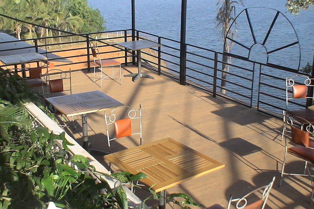 the deck overlooking the lake