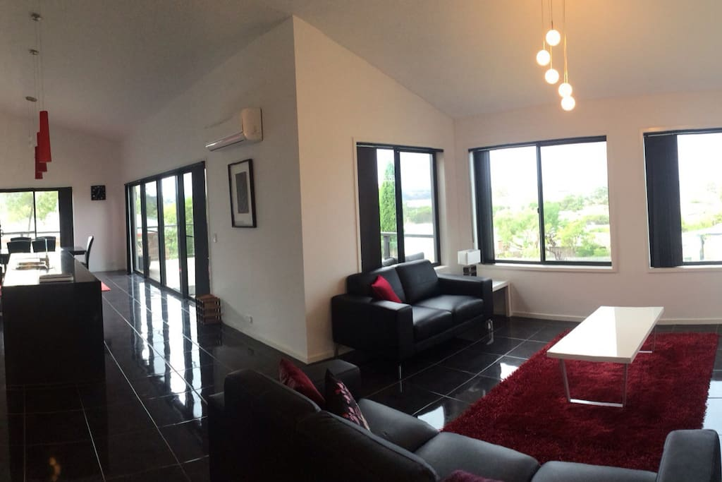 Open plan lounge, kitchen and dining all with sensational views