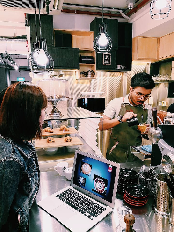 Our professional barista demonstrating