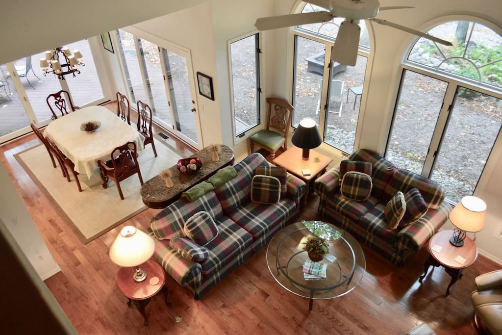 Overlooking the living and dining room from the second floor.