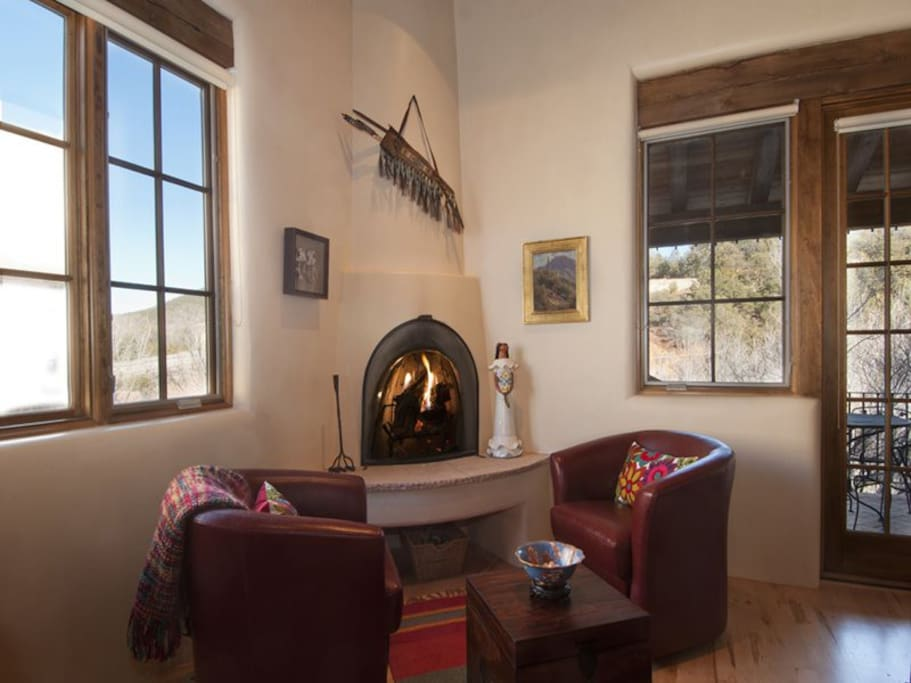 Traditional style Kiva fireplace in living room