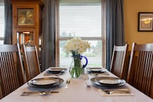 Charming dining room with matched tableware