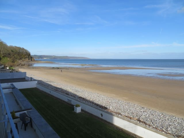 View to the left from the balcony looking towards Wiseman's Bridge, Amroth and Pendine Sands.