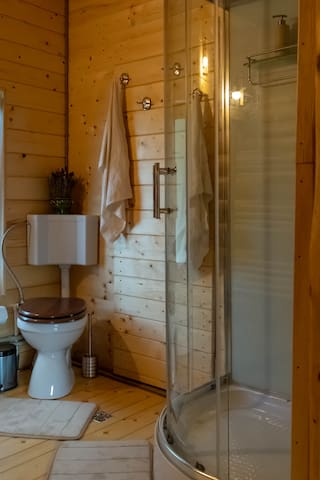 Bathroom - Shower with hydro-massage columns, radio and telephone.  Soap, shampoo, towels and hairdryer included.