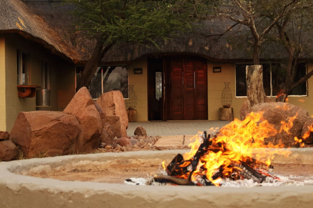 View of Lodge and Boma Fire
